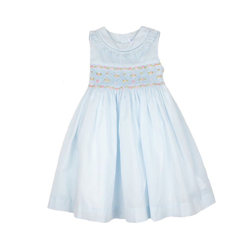 Blue Smocked Organdy Dress