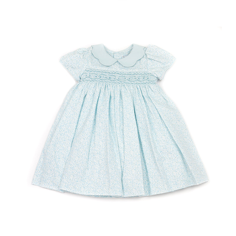 Scalloped Collar Turquoise Smocked Dress
