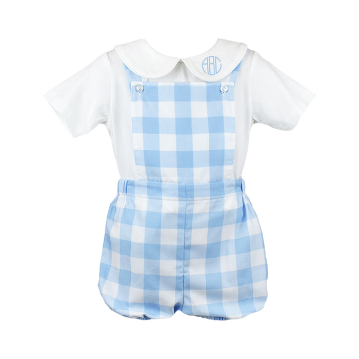 Arthur Blue & White Check Overall Set