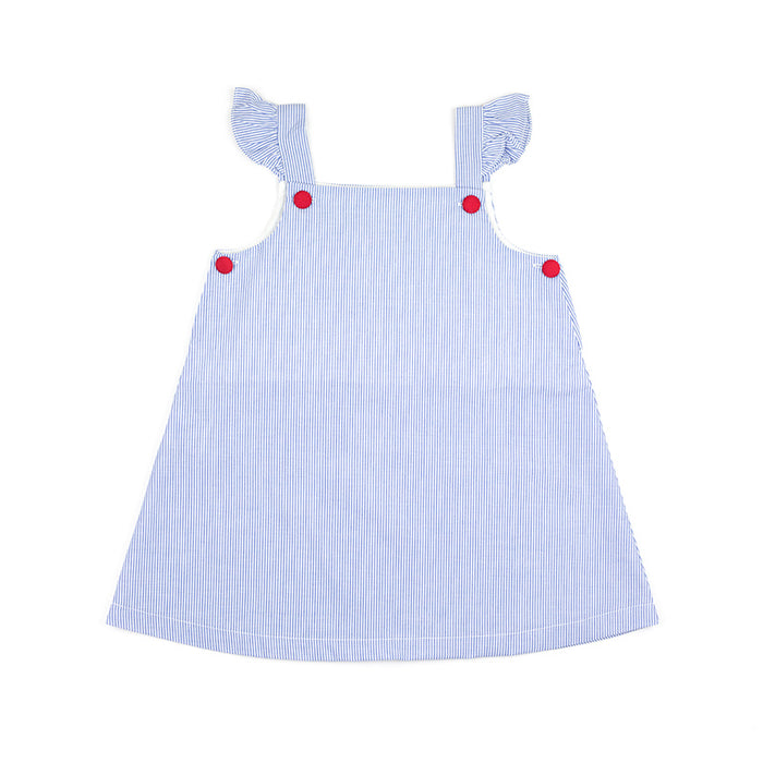 Blue Stripe Red Button Dress