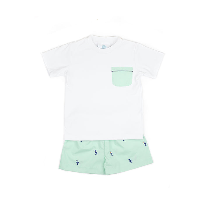Mint and Navy Flamingo Short Set