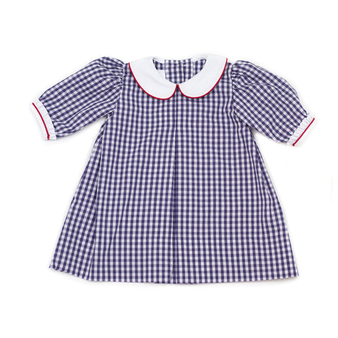 Navy Long Sleeve Gingham Dress