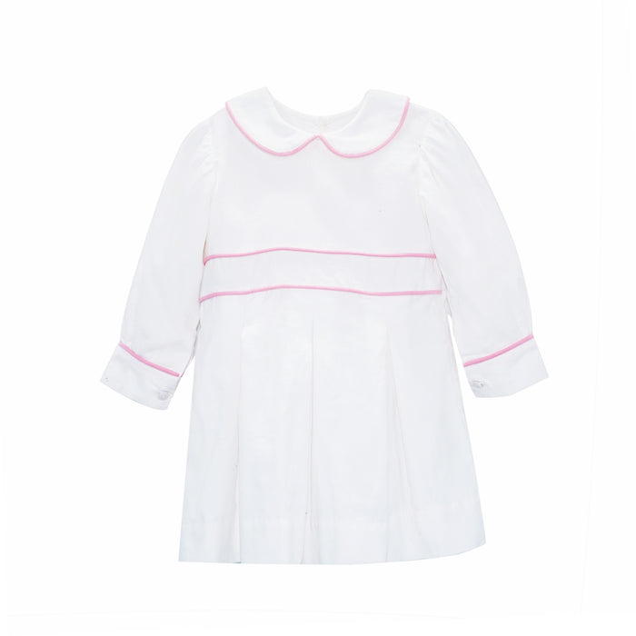 White and Pink Corduroy Dress