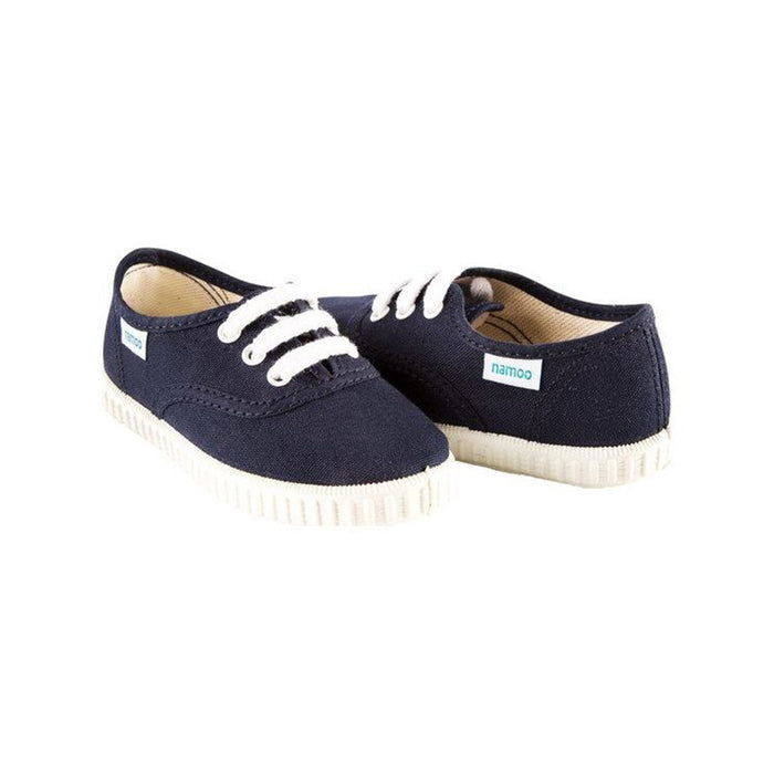 Navy Canvas Lace-Up Sneaker