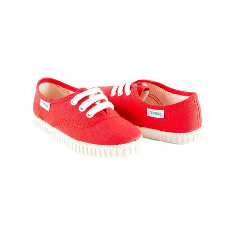 Red Canvas Lace-Up Sneaker