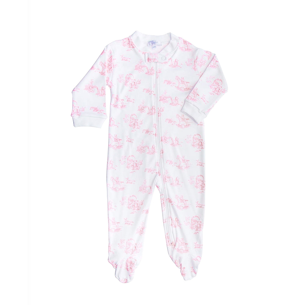 Pink Teddy Bear Toile Zipper Footie