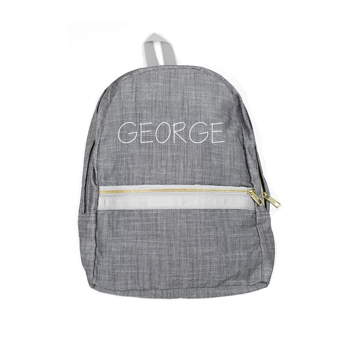 Personalized Grey Chambray Backpack