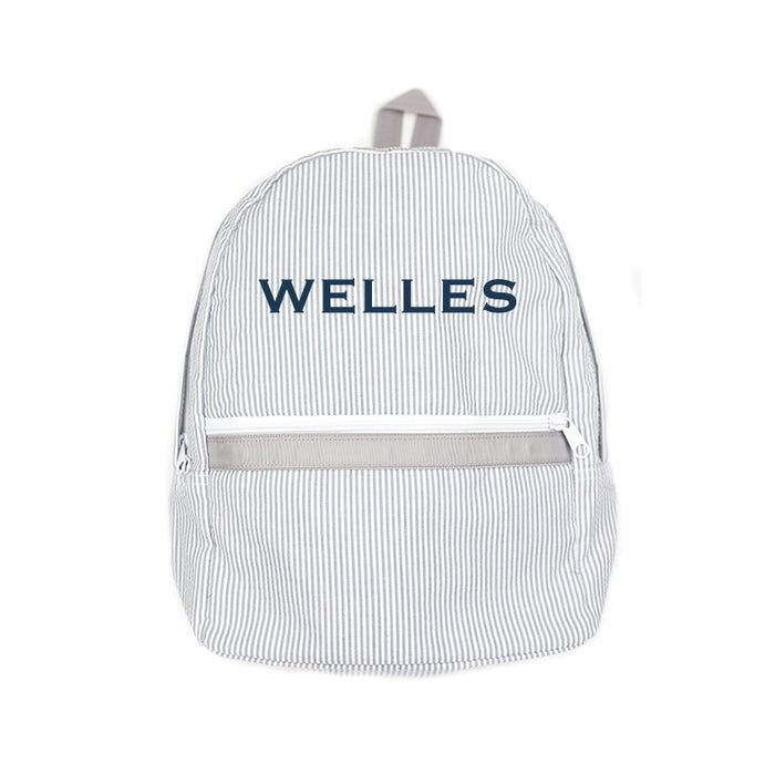 Personalized Grey Seersucker Backpack