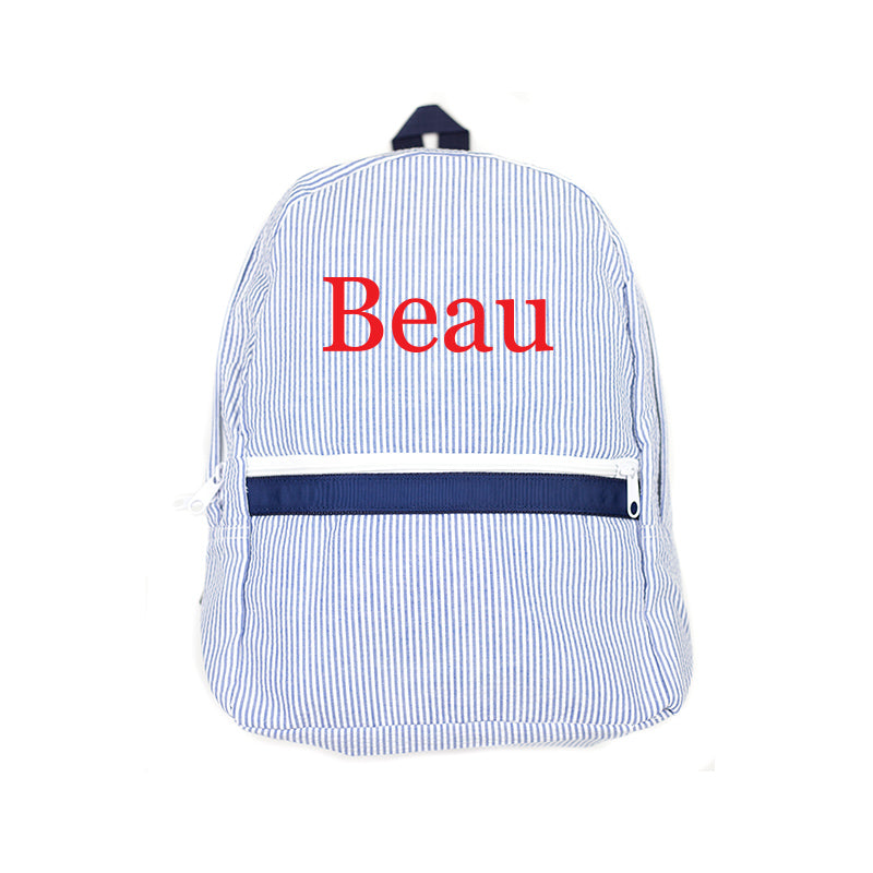 Shop Oh Mint! Personalized Navy Seersucker Backpack  a9f2dc46e43e5