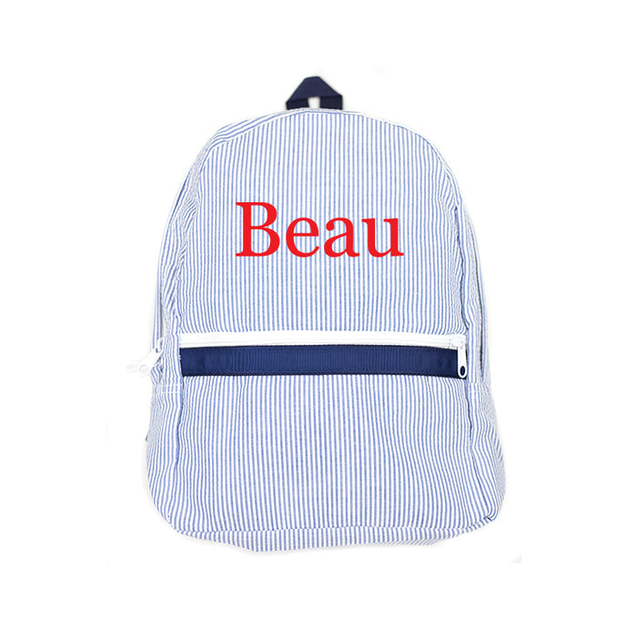 Personalized Navy Seersucker Backpack