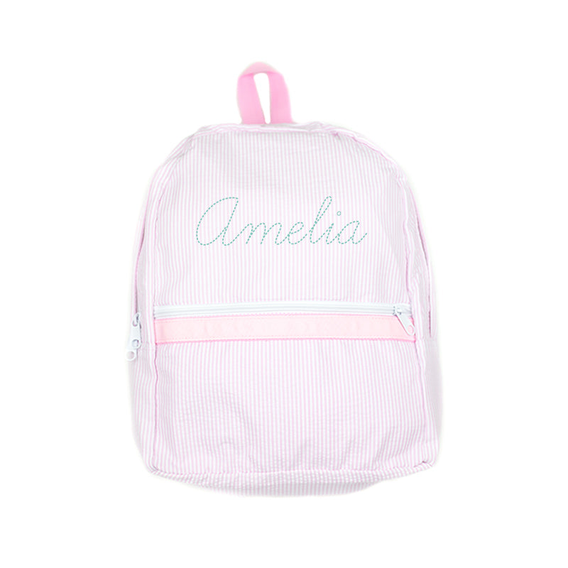 Shop Oh Mint! Personalized Pink Seersucker Backpack  179916311a6f5