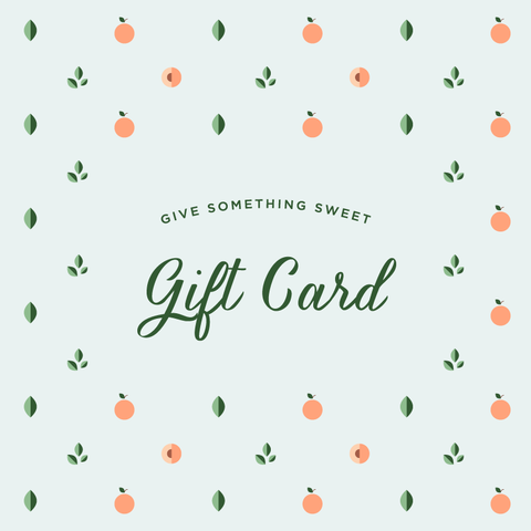 Peaches Gift Cards can be used on products like Rompers, Tops, Bottoms, Sets, Sleepwear, Outerwear, Socks & Shoes, and Swim, Personalization, Essentials, Decor, Play, Gear, and Gifts.