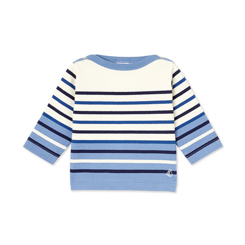 Ivory and Blue Striped Shirt