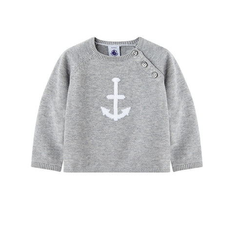 Grey Anchor Pullover Sweater