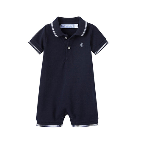 Navy Short Sleeve Polo Romper
