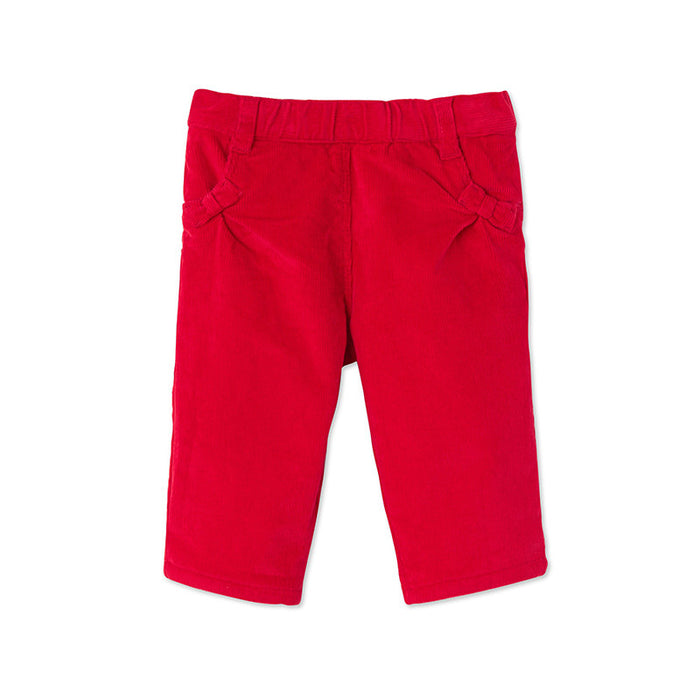 Red Bow Corduroy Pants