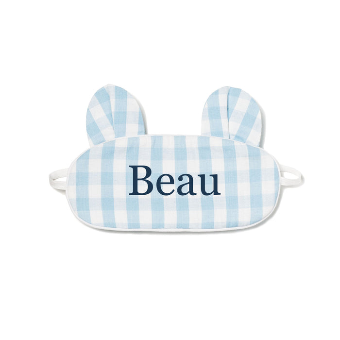 Blue Gingham Bear Eye Mask