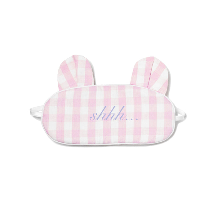 Pink Gingham Bear Eye Mask
