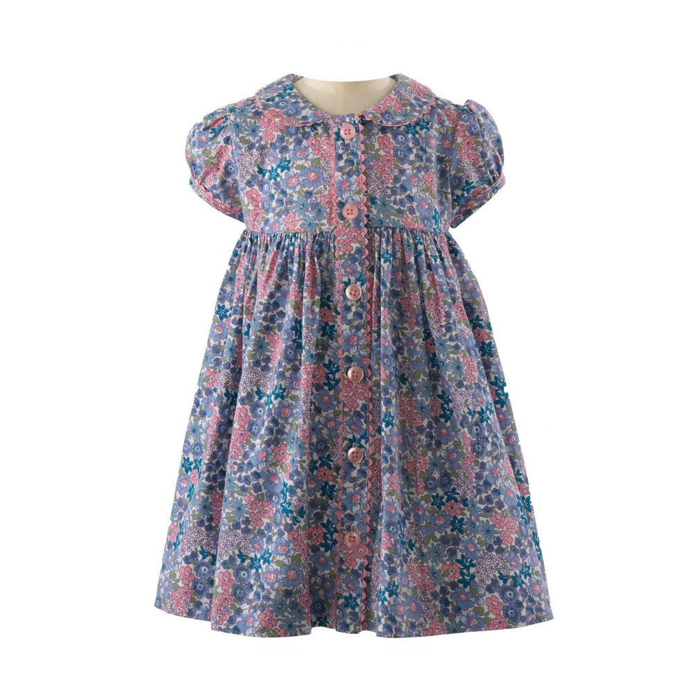 Winter Floral Button-Front Dress