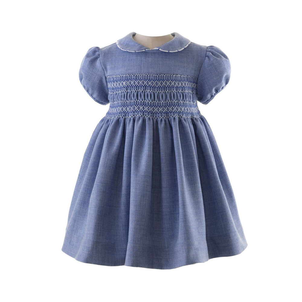 Blue Scalloped Trim Smocked Dress