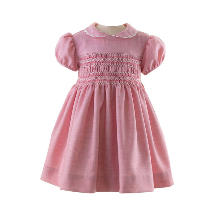 Pink Scalloped Trim Smocked Dress