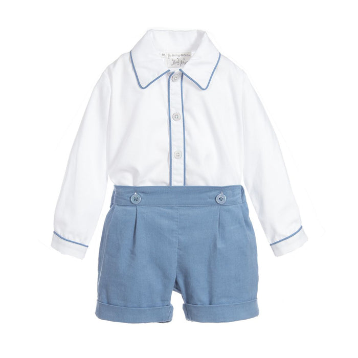 Blue Corduroy Short Set