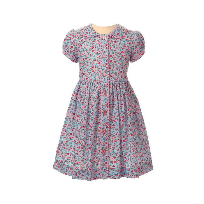 Ditsy Blue Floral Button Front Dress