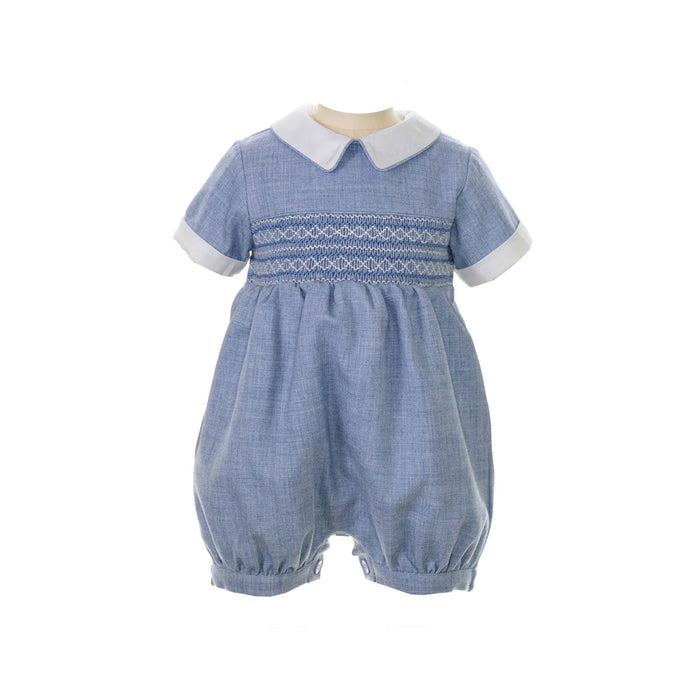 Blue Geometric Smocked Babysuit