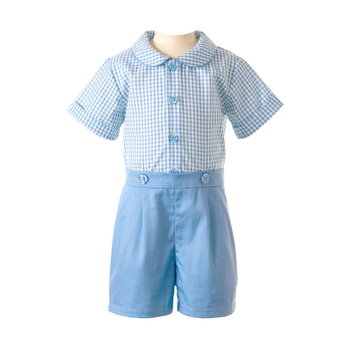 Blue Gingham Shirt & Short Set