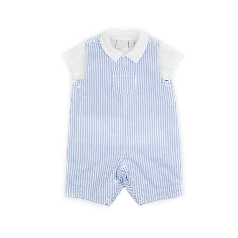 Blue and White Stripe Dungaree Set