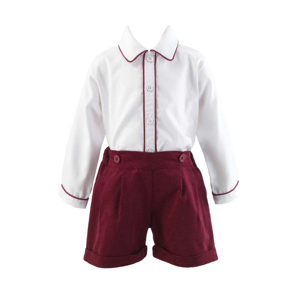 Burgundy Corduroy Short Set