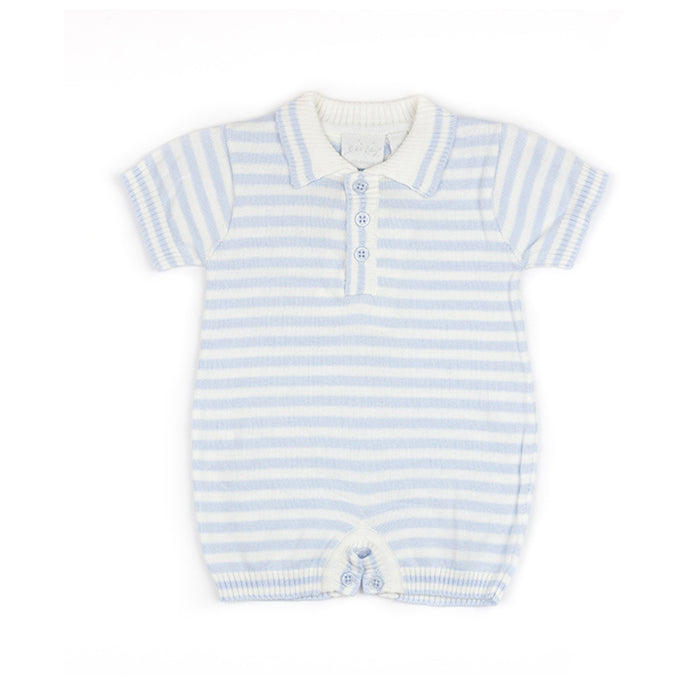 Light Blue Stripe Knit Romper