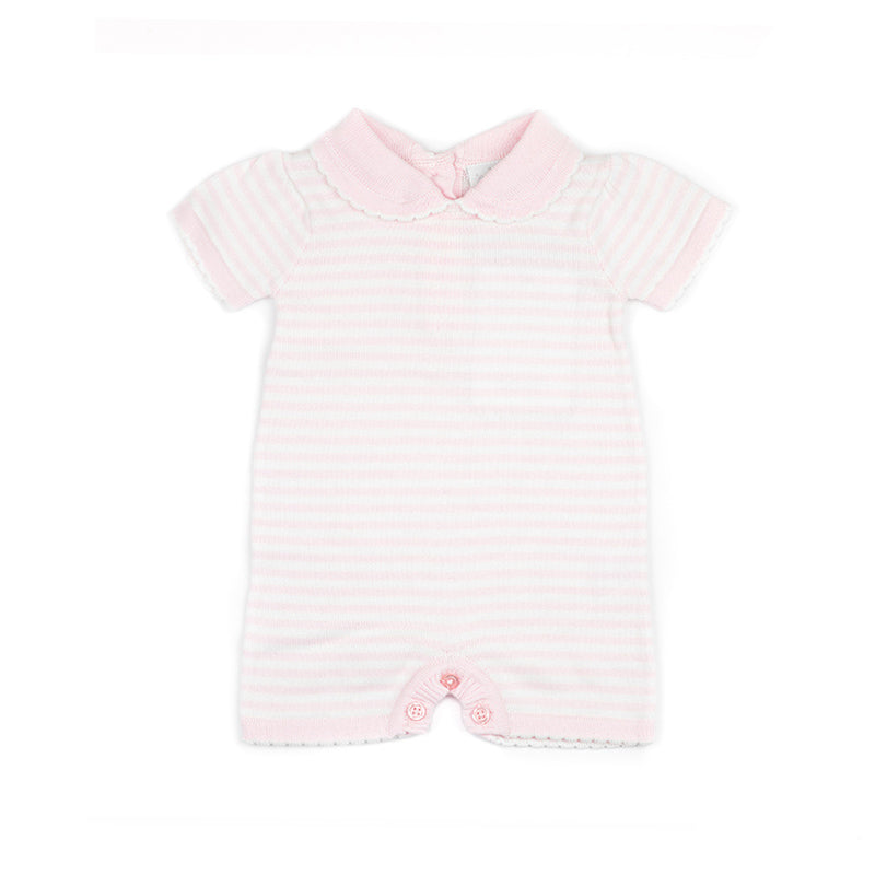 pink knit baby romper with scallop collar