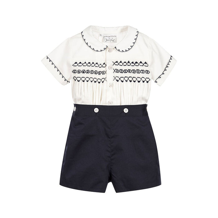 Hand Smocked Navy Short Set