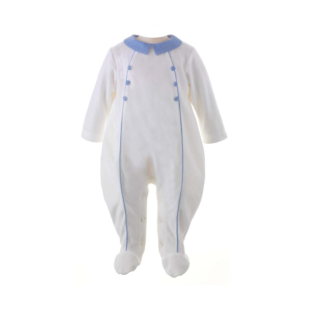 Houndstooth French Blue Trim Velour Babygro