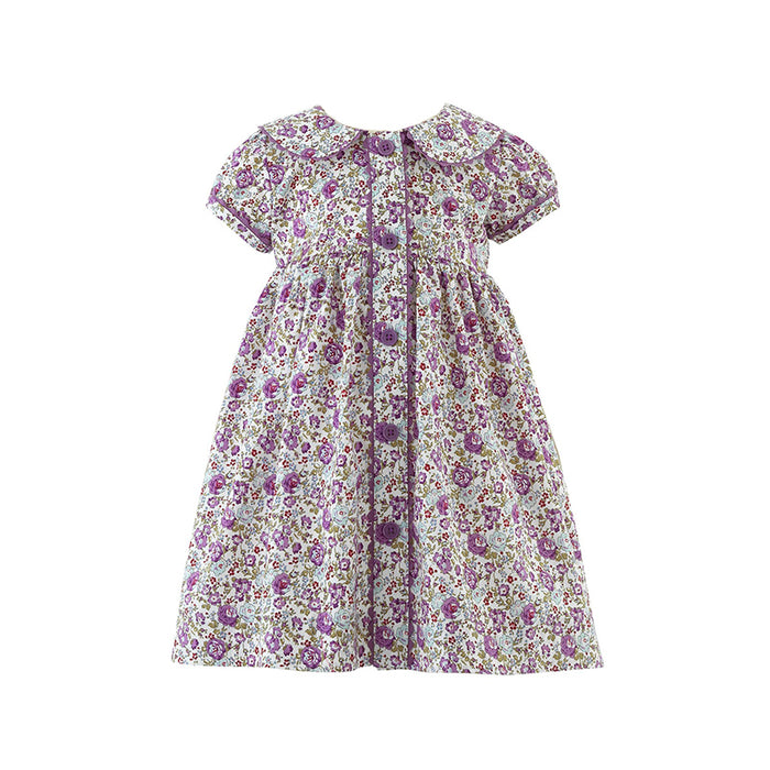 Lilac Floral Button Front Dress