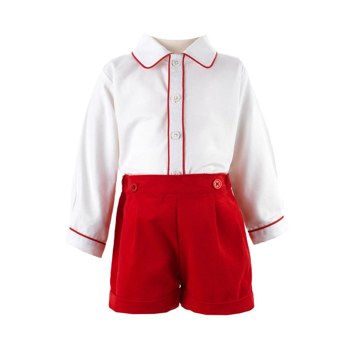 Red Corduroy Short Set