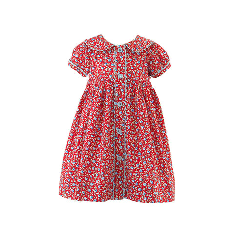 Red Floral Button Front Dress