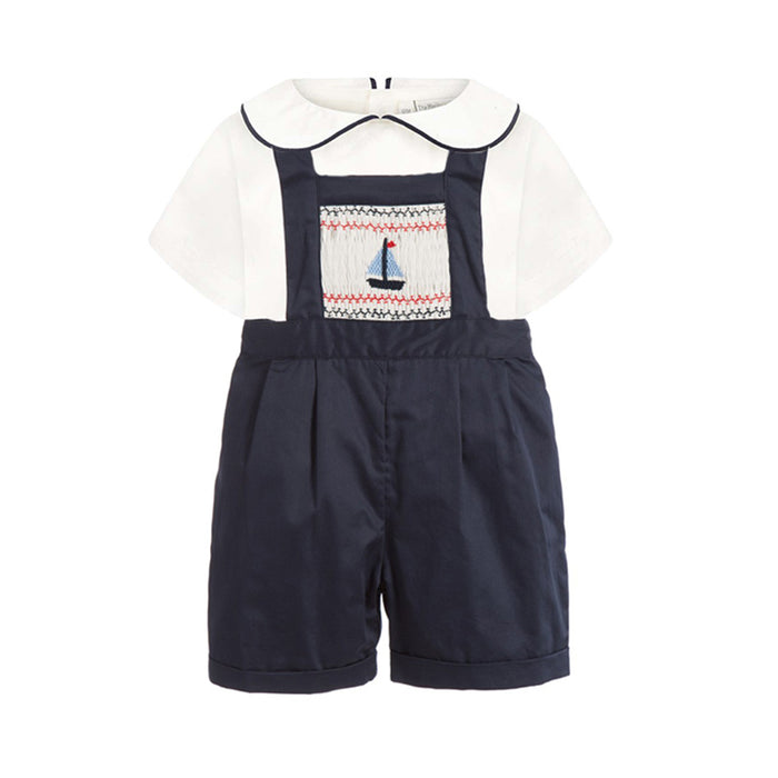 Smocked Sailboat Dungaree Set