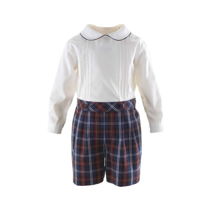 Pin Tuck Shirt & Tartan Short Set