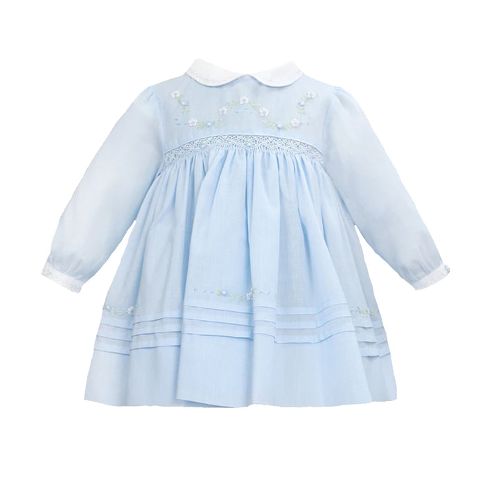 Embroidered and Smocked Blue Dress