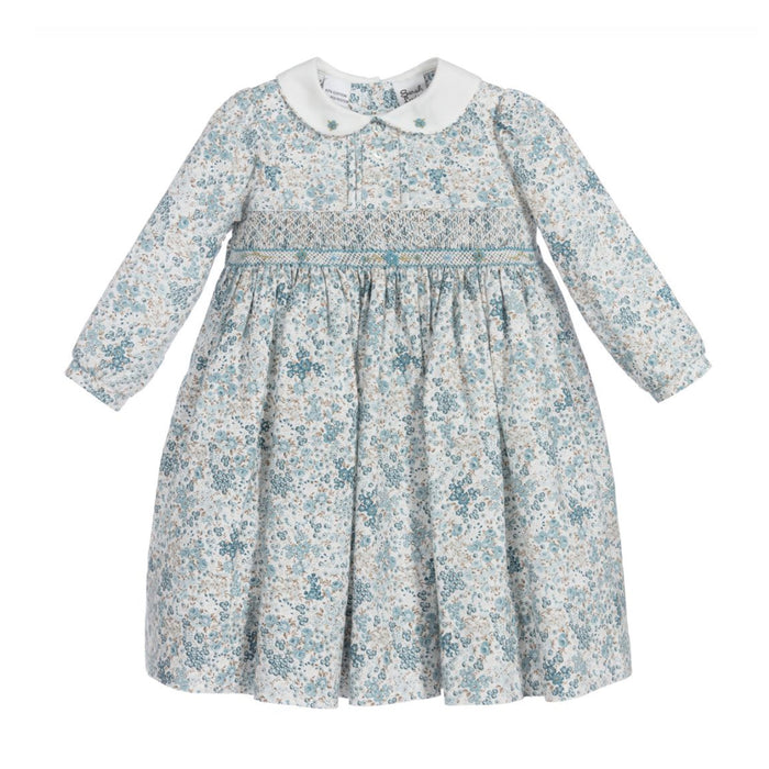 Ditsy Blue Print Smocked Dress