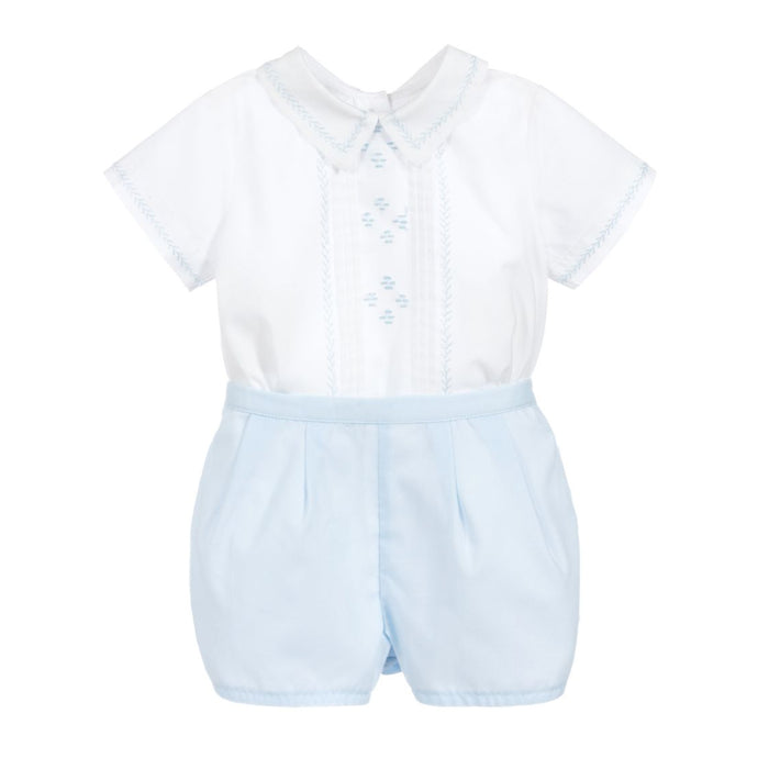 Classic Embroidered Light Blue Short Set