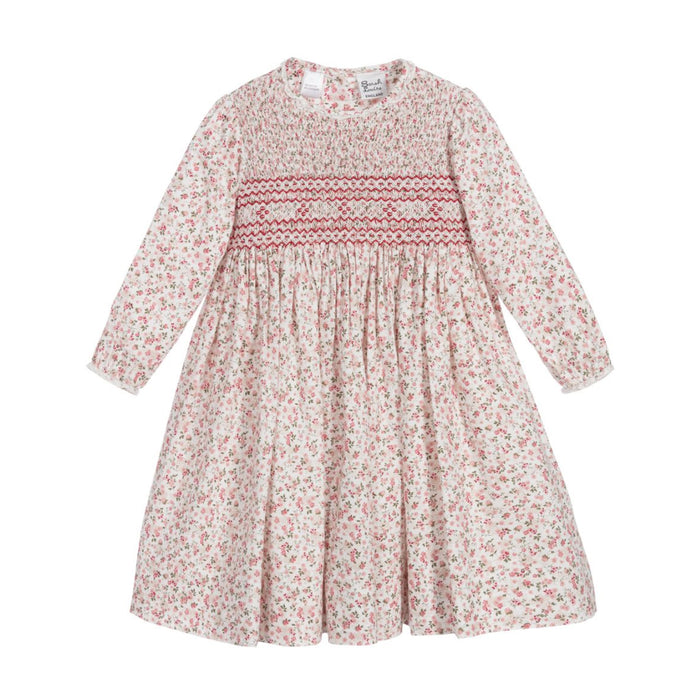 Red Rose Print Smocked Dress