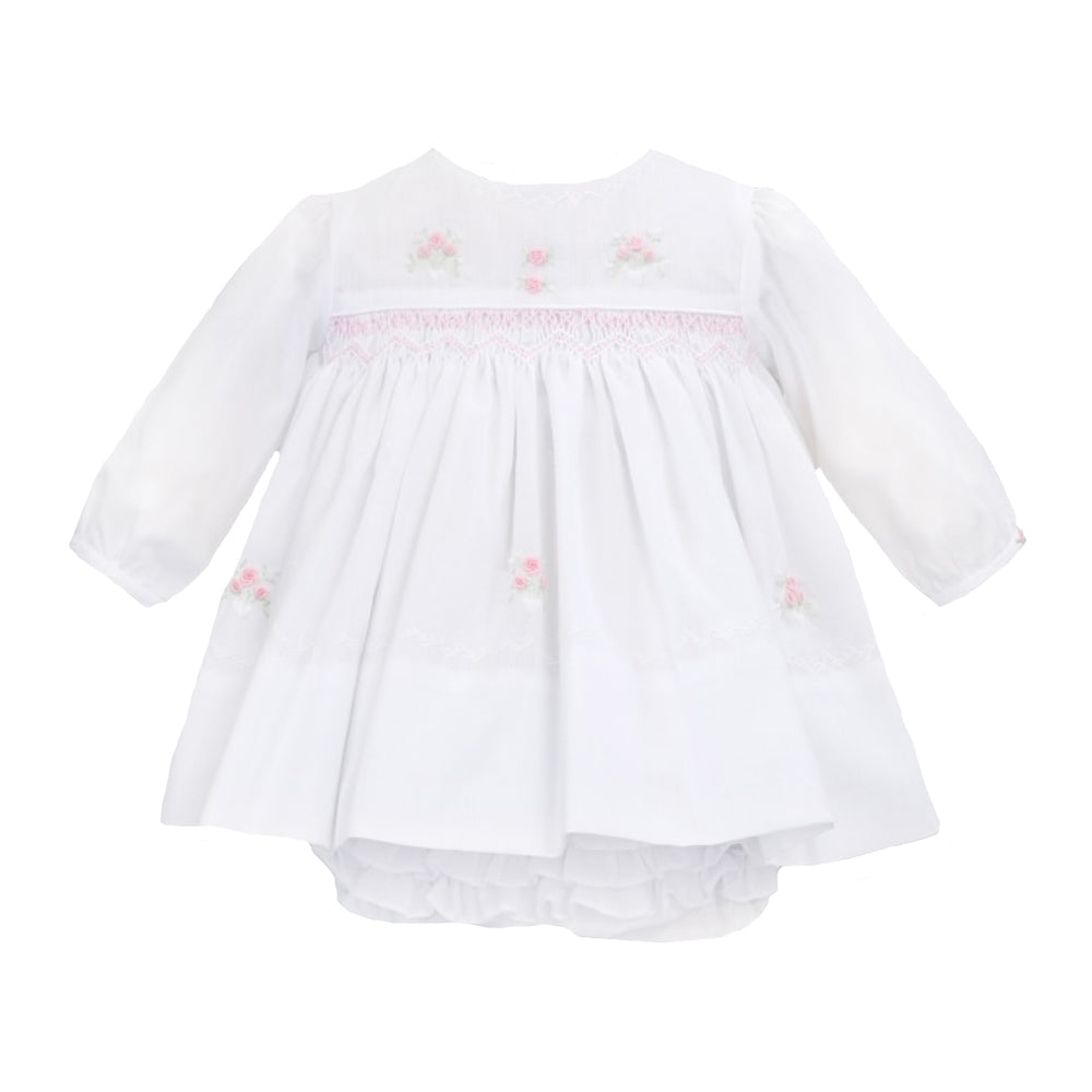 Smocked White Dress and Ruffled Bloomers