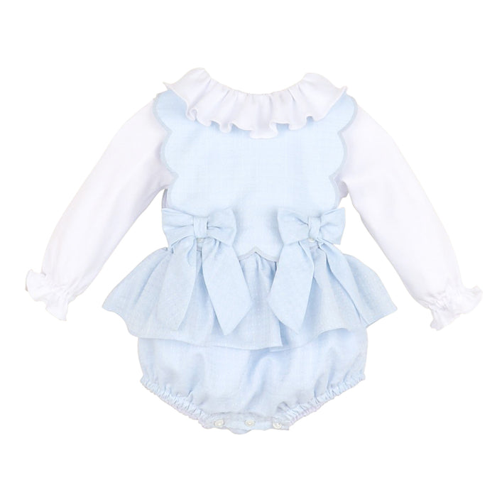 Blue Candyland Bow Scallop Overall Set