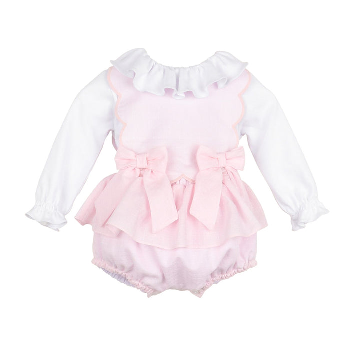 Pink Candyland Bow Scallop Overall Set