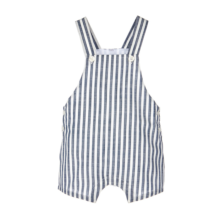 Blue and White Striped Short Overall