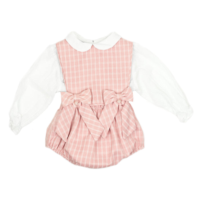 Rose Plaid Bow Overalls