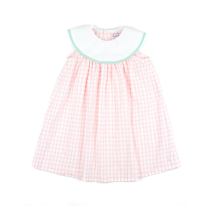 Pink Gingham Dress with Mint Trim